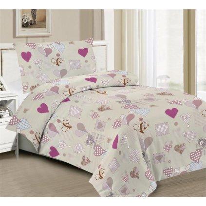 Povlečení srdce bavlna/mikrovlákno béžová 140x200 na jednu postel