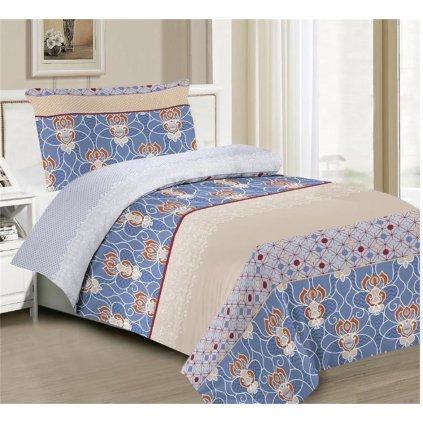 Povlečení ornamenty bavlna/mikrovlákno modrá šedá béžová 140x200 na jednu postel