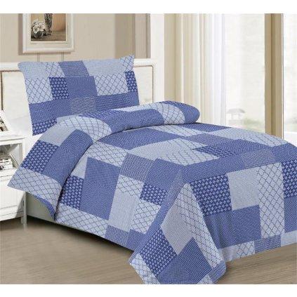 Povlečení čtverce bavlna/mikrovlákno modrá 140x200 na jednu postel