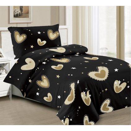 Povlečení srdce hvězdy bavlna mikrovlákno černá 140x200 na jednu postel