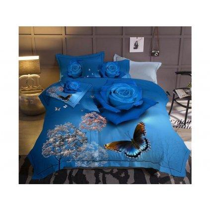 Šestidílné francouzské povlečení růže modrá 200 x 220