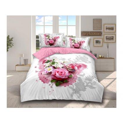 Šestidílné francouzské povlečení romantická kytice bílá růžová 200x220