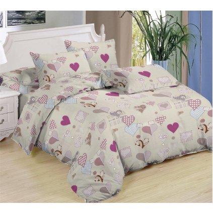 Sedmidílné povlečení srdce bavlna mikrovlákno béžová 140x200 na dvě postele