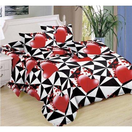 Sedmidílné povlečení srdce trojúhelníky bavlna mikrovlákno černá červená 140x200 na dvě postele