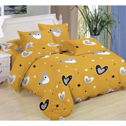 Sedmidílné povlečení srdce hvězdy bavlna mikrovlákno 140x200 na dvě postele