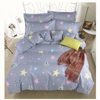Dvoudílné povlečení pestré hvězdy bavlna mikrovlákno 140x200 na jednu postel