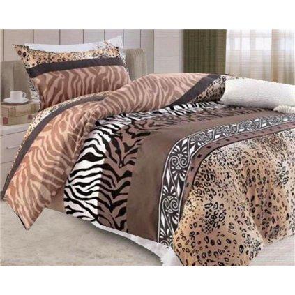2-dílné povlečení exotika bavlna/mikrovlákno hnědá béžová 140x200 na jednu postel