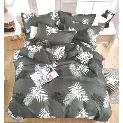 Dvoudílné povlečení listy bavlna mikrovlákno šedá 140 x 200 na jednu postel