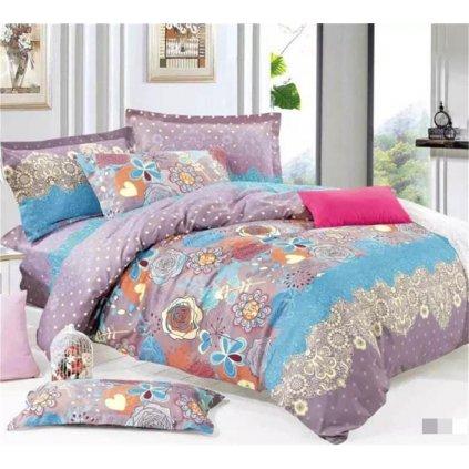 Dvoudílné povlečení květy ornamenty bavlna mikrovlákno fialová 140x200 na jednu postel