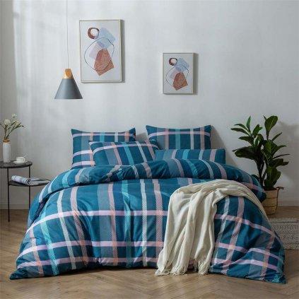 2-dílné povlečení kárované bavlna/mikrovlákno tyrkysová 140x200 na jednu postel