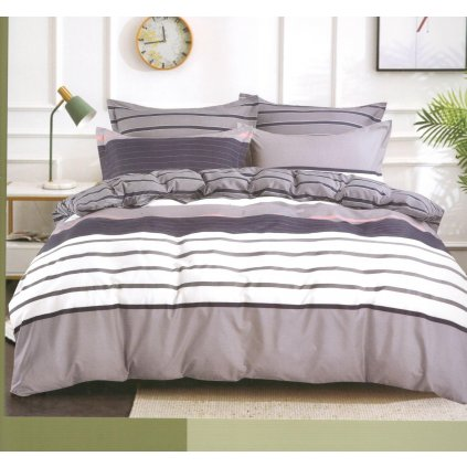 2-dílné povlečení pruhy bavlna/mikrovlákno fialová 140x200 na jednu postel