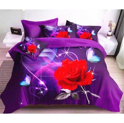 Dvoudílné povlečení růže bavlna mikrovlákno fialová červená 140x200 na jednu postel