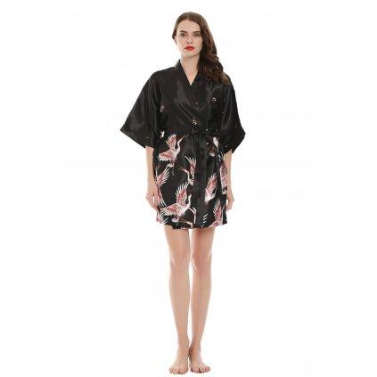 Dámský saténový župan krátký kimono černá