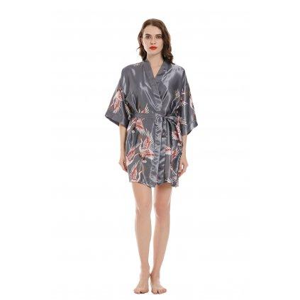 Dámský saténový župan kimono krátký šedá