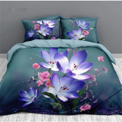 2-dílné povlečení jarní květy bavlna mikrovlákno 140x200 na jednu postel