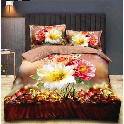 Dvoudílné povlečení pestré květy bavlna mikrovlákno 140x200 na jednu postel