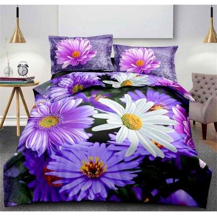 Dvoudílné povlečení květy bavlna mikrovlákno modrá fialová bílá 140x200 na jednu postel