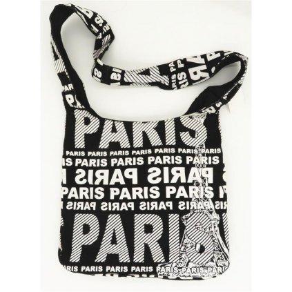 Dámská látková crossbody taška s bílým potiskem Paris