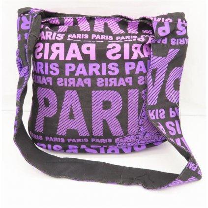 Dámská černá látková taška crossbody s fialovým potiskem Paris
