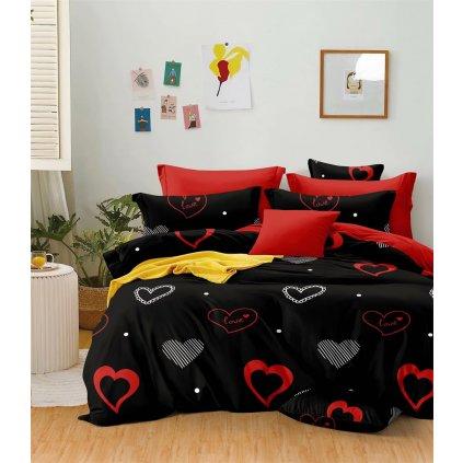 Sedmidílné povlečení srdce love bavlna mikrovlákno 140x200 na dvě postele
