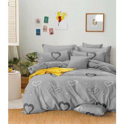 Sedmidílné povlečení srdce love bavlna mikrovlákno šedá 140x200 na dvě postele
