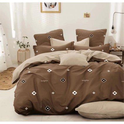Sedmidílné povlečení surprise bavlna mikovlákno hnědá šedá 140x200 na dvě postele