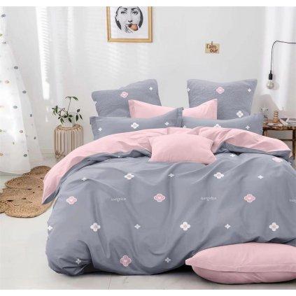 Sedmidílné povlečení surprise bavlna mikrovlákno šedá růžová 140 x 200 na dvě postele