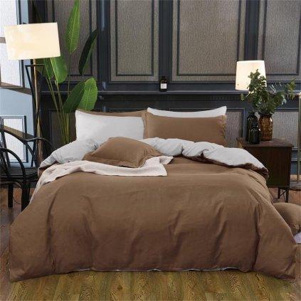 Sedmidílné povlečení bavlna/mikrovlákno hnědá šedá 140x200 na dvě postele