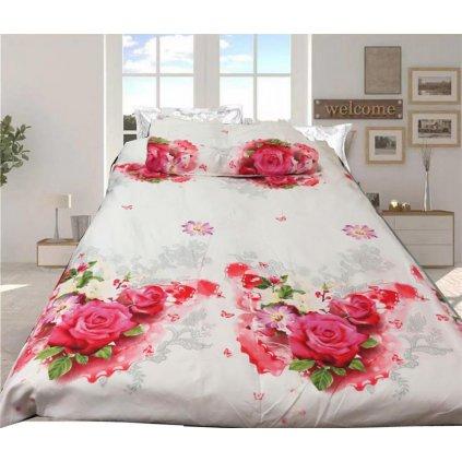 Třídílné povlečení romantická kytice bavlna mikrovlákno bílá růžová 140x200 na jednu poste