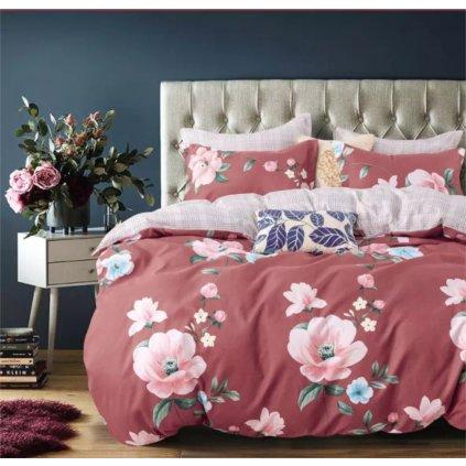 7-dílné povlečení jarní květy bavlna/mikrovlákno vínová 140 x 200 na dvě postele