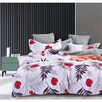 7-dílné povlečení květy a listy bavlna/mikrovlákno šedá 140 x 200 na dvě postele