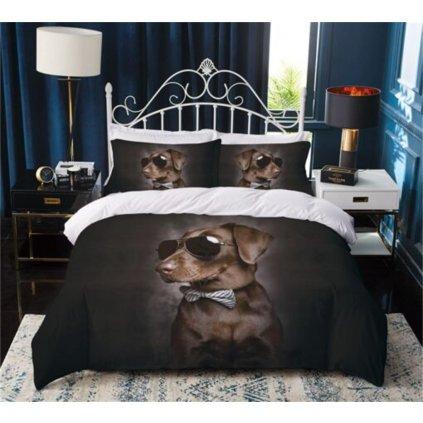 3-dílné povlečení pes elegán 3 D černá 140 x 200 na jednu postel