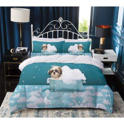 3-dílné povlečení psí koupel 3 D tyrkysová 140 x 200 na jednu postel