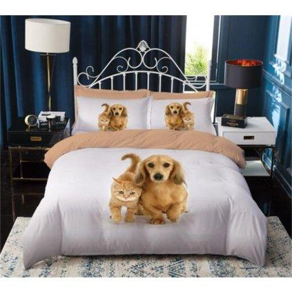 3-dílné povlečení pes a kotě 3 D šedá 140 x 200 na jednu postel