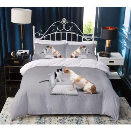 3-dílné povlečení pilný pes a kočka 3 D šedá 140 x 200 na jednu postel