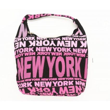 Dámská látková taška přes rameno New York růžová