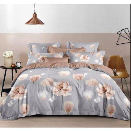 Třídílné povlečení květy bavlna/mikrovlákno šedá 140x200 na jednu postel