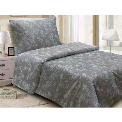 Dvoudílné povlečení květy bavlna/mikrovlákno šedá bílá 140x200 na jednu postel
