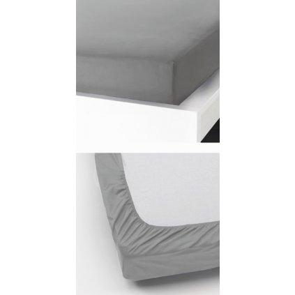 Prostěradlo 180 x 200 cm šedá světlá