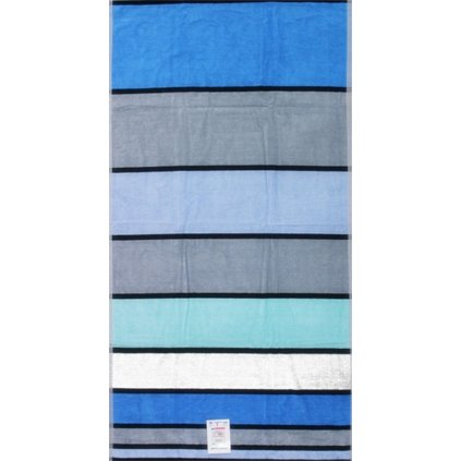 Oboustranná osuška pruhy modrá šedá 90 x 170 cm