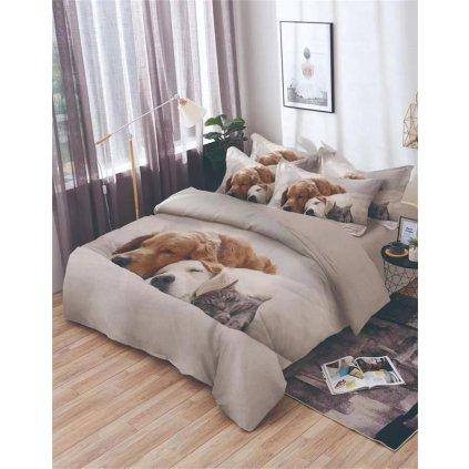 7-dílné povlečení spící psi a kočka 3 D šedá 140x200 na dvě postele