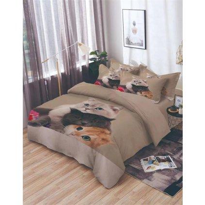 7-dílné povlečení kočky 3 D béžová 140x200 na dvě postele