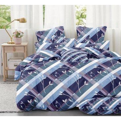 7-dílné povlečení stonky modrá 140x200 na dvě postele