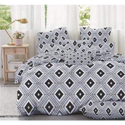 7-dílné povlečení kosočtverce šedá 140x200 na dvě postele
