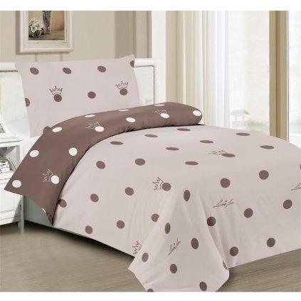 2-dílné povlečení love béžová hnědá 140x200 na jednu postel