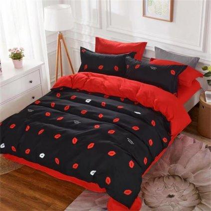 7-dílné povlečení polibek černá červená 140x200 na dvě postele