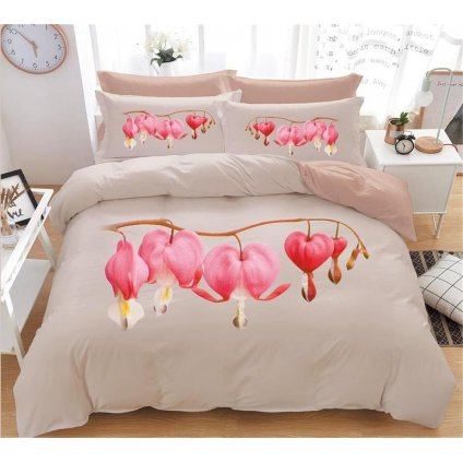 7-dílné povlečení 3 D květ srdcovky béžová 140x200 na dvě postele