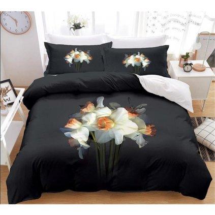 7-dílné povlečení narcis 3 D černá 140x200 na dvě postele