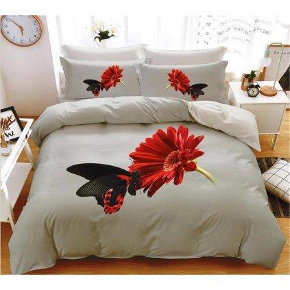 7-dílné povlečení gerbera a motýl 3 D šedá 140x200 na dvě postele