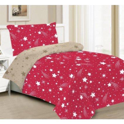 2-dílné povlečení obloha červená béžová 140x200 na jednu postel